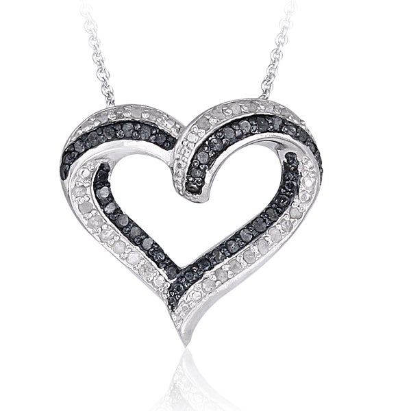 DB Designs Silvertone 1/2ct TDW Diamond Open Heart Necklace