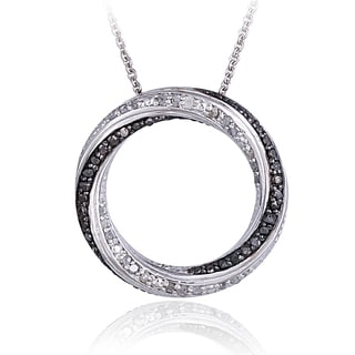 DB Designs Silvertone 1/2ct TDW Black or Blue & White Diamond Eternity Necklace