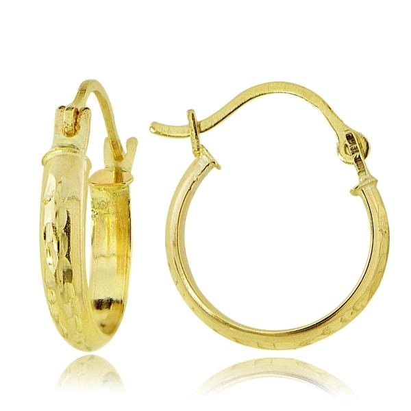 2 5 Mm Earrings: Shop Mondevio 14K Gold 2.5mm Half-Round Diamond-cut 18mm