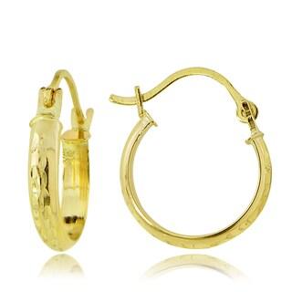 Mondevio 14k Gold 2.5mm Half-Round Diamond-cut 15mm Hoop Earrings
