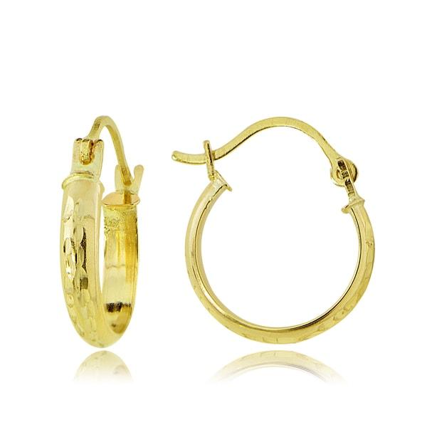 2 5 Mm Earrings: Shop Mondevio 14k Gold 2.5mm Half-Round Diamond-cut 12mm