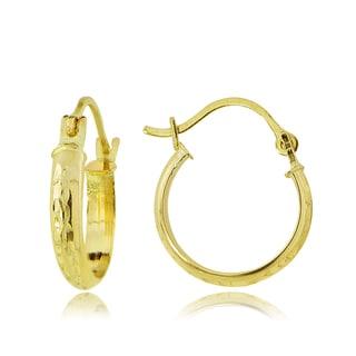 Mondevio 14k Gold 2.5mm Half-Round Diamond-cut 12mm Hoop Earrings