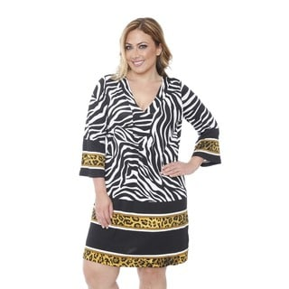 White Mark Women's Plus-size 'Madelyn' Zebra/ Gold Print Dress