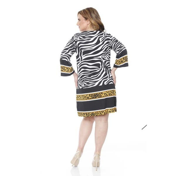 Shop White Mark Women\'s Plus-size \'Madelyn\' Zebra/ Gold ...