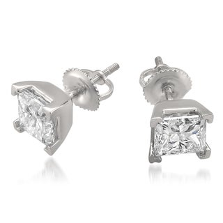 Montebello 14k White Gold 3.01ct TDW Certified White Diamond Stud Earrings (H-I, SI2-SI3)