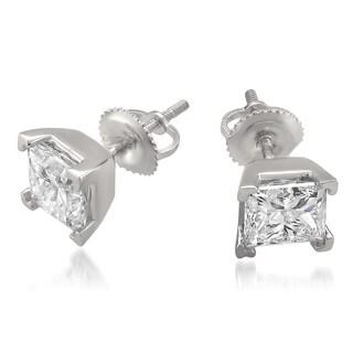 Montebello 14k White Gold 3.01ct TDW Certified White Diamond Stud Earrings