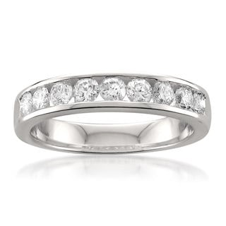 Montebello 14k White Gold 3/4ct TDW Round-cut Channel-set Diamond Wedding Band (G-H, SI1)