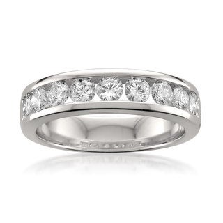 Montebello 14k White Gold 1ct TDW Round-cut White Diamond Channel-set Wedding Band