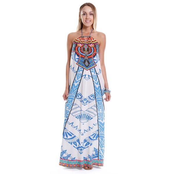 38d3edf84436 Shop Hadari Women's Contemporary Tribal Halter Maxi Dress - Free ...