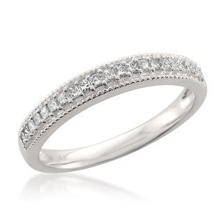 Montebello 14k White Gold 1/3ct TDW Princess-cut White Diamond Milgrain Wedding Band