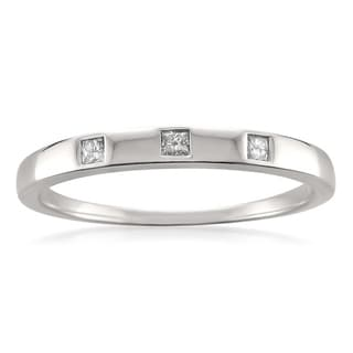 Montebello 10k White Gold 1/10ct TDW Princess-cut Diamond Wedding Band