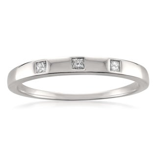 Montebello 10k White Gold 1/10ct TDW Princess-cut Diamond Wedding Band (G-H, I1)