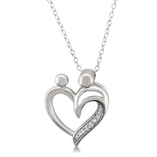 Montebello Sterling Silver Diamond Accent Mother and Baby Heart Necklace