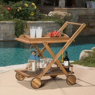 Christopher Knight Home Riviera Outdoor Acacia Wood Bar Cart with Tray