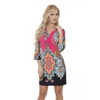 White Mark Women's Madelyn Fuchsia/Black Patterned Dress