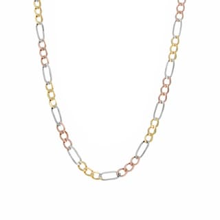 Sterling Essentials 14K Tri-color Gold Pave Figaro Chain (3.2 mm)