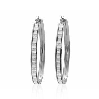 Sterling Essentials Rhodium Plated Silver Glitter Hoop Earrings