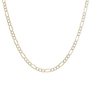 Sterling Essentials 14K Two-tone Gold Pave Figaro Chain (4 mm)