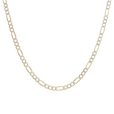 Roberto Martinez 14k Gold 4 mm Pave Figaro Chain (16-24 Inch)