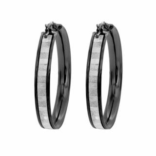 Sterling Essentials Black Rhodium Plated Silver Glitter Hoop Earrings