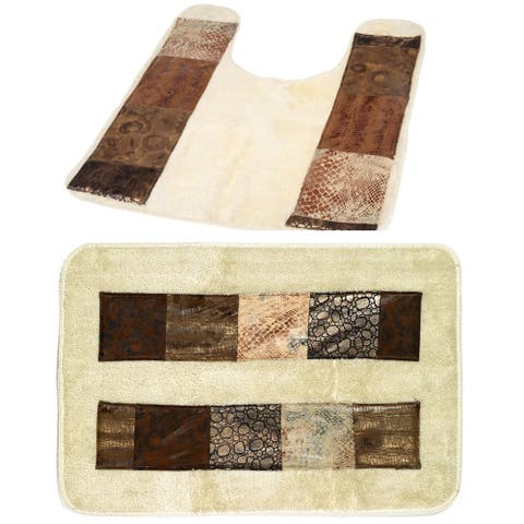 Animal Print Faux Leather Bath and Contour Rugs