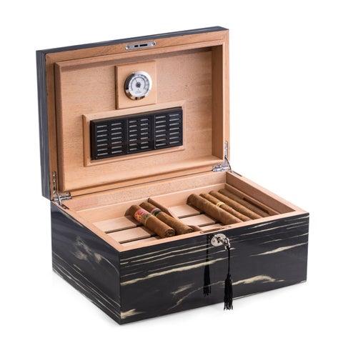 Bey Berk 'Hera' Ebony Wood Cigar Humidor