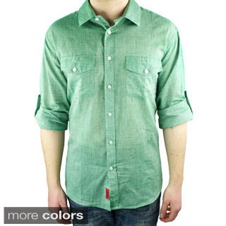 Elie Balleh Brand Men's 2015 Style Slim Fit Casual Shirt (Option: Green)
