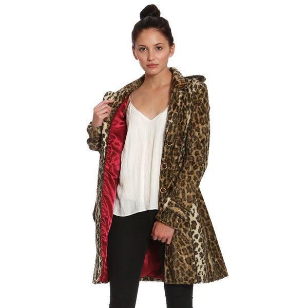 Women's Faux Fur Leopard Trench Coat