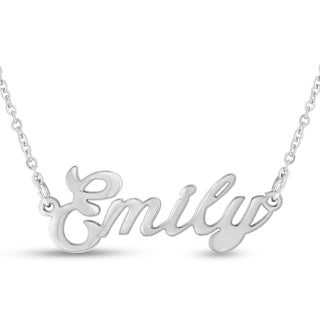 Silver Overlay 'Emily' Nameplate Necklace
