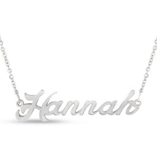 Silver Over Brass 'Hannah' Nameplate Necklace