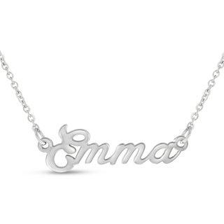 Silver Overlay 'Emma' Nameplate Necklace