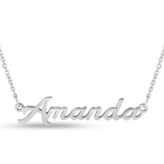 Silver Overlay 'Amanda' Nameplate Necklace