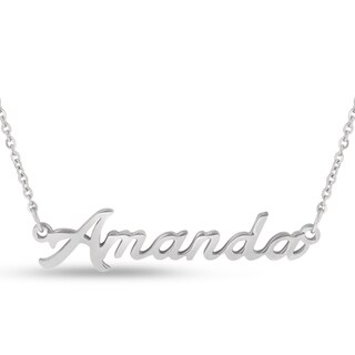 Silver Over Brass 'Amanda' Nameplate Necklace