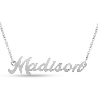 Silver Over Brass 'Madison' Nameplate Necklace