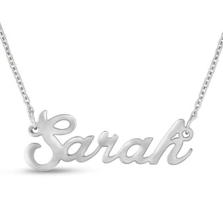 Silver Overlay 'Sarah' Nameplate Necklace