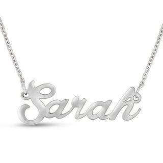 Silver Over Brass 'Sarah' Nameplate Necklace