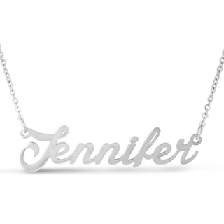 Silver Overlay 'Jennifer' Nameplate Necklace