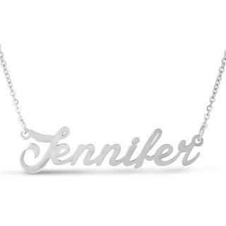 Silver Over Brass 'Jennifer' Nameplate Necklace