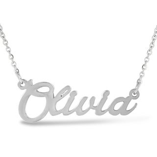 Silver Overlay 'Olivia' Nameplate Necklace