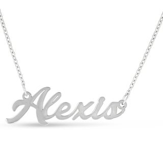 Silver Overlay 'Alexis' Nameplate Necklace