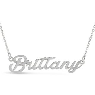 Silver Overlay 'Brittany' Nameplate Necklace