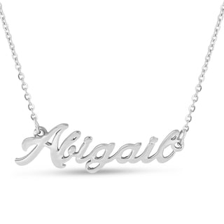 Silver Overlay 'Abigail' Nameplate Necklace