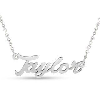 Silver Over Brass 'Taylor' Nameplate Necklace