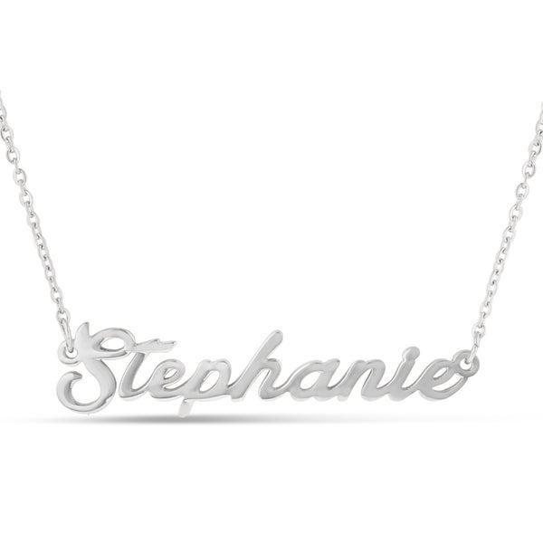 Silver Over Brass 'Stephanie' Nameplate Necklace