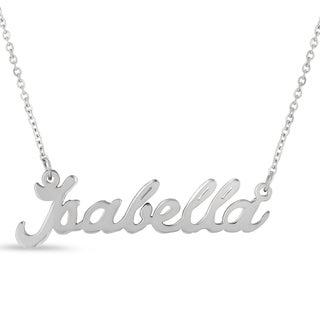 Silver Overlay 'Isabella' Nameplate Necklace
