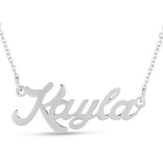 Silver Overlay 'Kayla' Nameplate Necklace