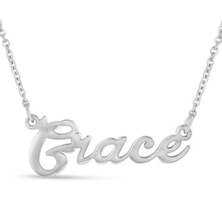 Silver Overlay 'Grace' Nameplate Necklace