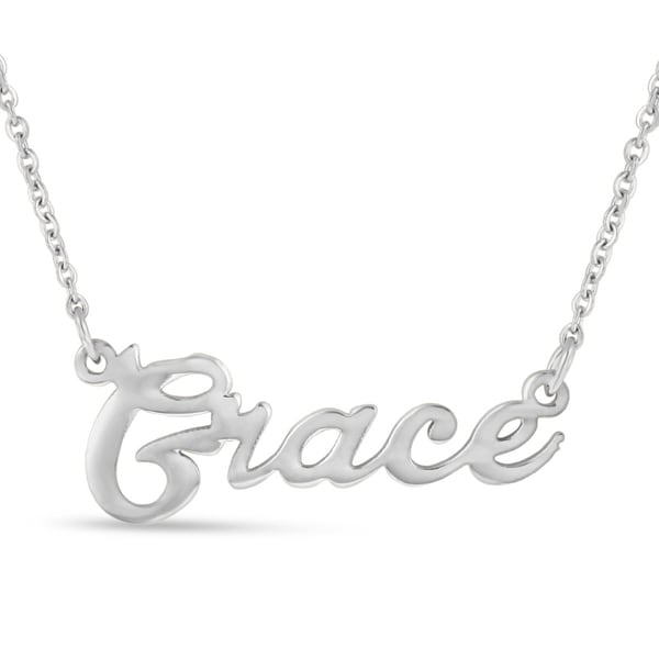 Silver Over Brass 'Grace' Nameplate Necklace
