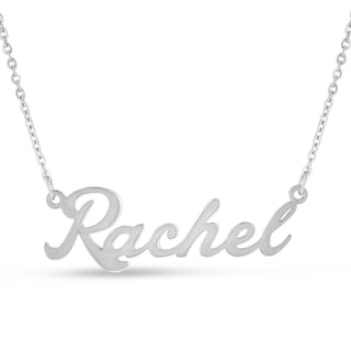 Silver Overlay 'Rachel' Nameplate Necklace