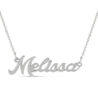 Silver Over Brass 'Melissa' Nameplate Necklace